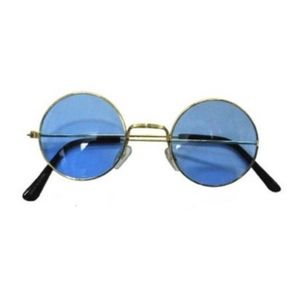 Accessories - Blue Lens Round Hippie Sunglasses